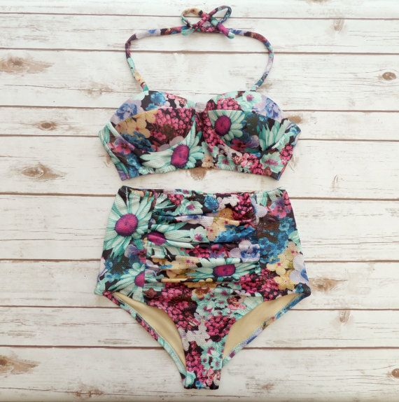 ❤ Bikiniboo Vintage Inspired Handmade High Waist Bikini ❤  ❤ Bold & Retro Bold Summer Floral Print Swimsuit ❤  This bikini is everything that swimwear