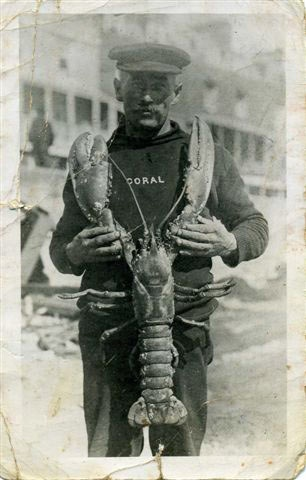 fisherman with a huge lobster