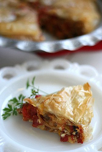 Mediterranean Roasted Vegetable Pie...made w/ phyllo dough