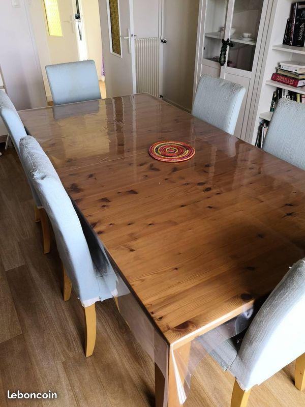 Table Ikea Stornas 6 8 Personnes Pin Massif Avec Rallonge Nappe Plastique De Protection Tres Bon Etat Et 6 Chaises Housses A Table Ikea Ikea Ameublement