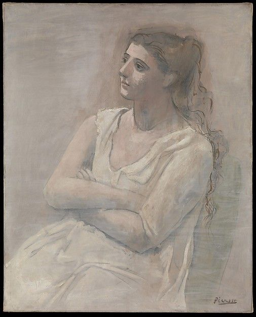 'Woman in White,' 1923; Pablo Picasso, Spanish, 1881-1973; oil, water-based paint, and crayon on canvas; Metropolitan Museum of Art, New York. 'Woman in White' is considered a masterpiece of Picasso's Neoclassical Period, which lasted from 1918 to about 1925, coinciding with his work for the Russian impresario Sergei Diaghilev and his marriage to Olga Koklova.
