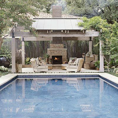Beautiful pool and pavilion with kitchen and fireplace. Must have!