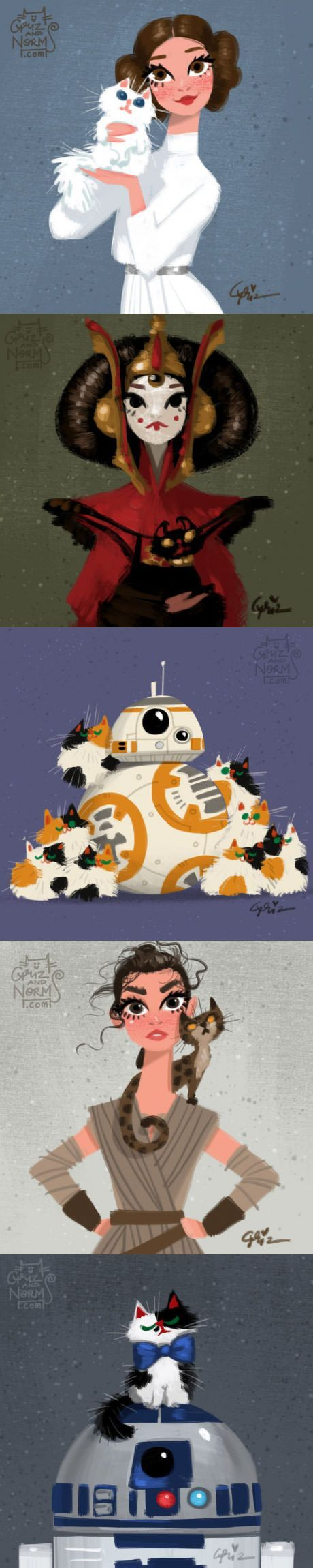 Artist From Walt Disney Animation Studio Draws Star Wars Characters With Cats (by grizandnorm)