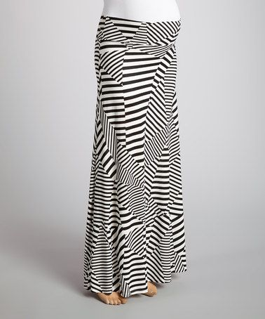 Love this Ivory Stripe Mid-Belly Maternity Maxi Skirt - Women by Anticipation on #zulily! #zulilyfinds