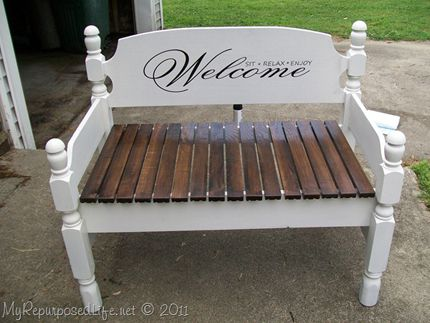 Welcoming Stenciled Bench made from an old twin size bed frame | CraftGossip.com