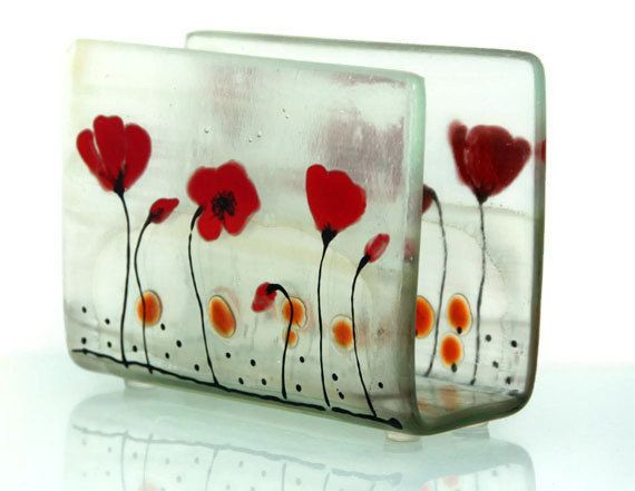 Fused Glass napkin holder , red Poppies in Calm white  landscape .