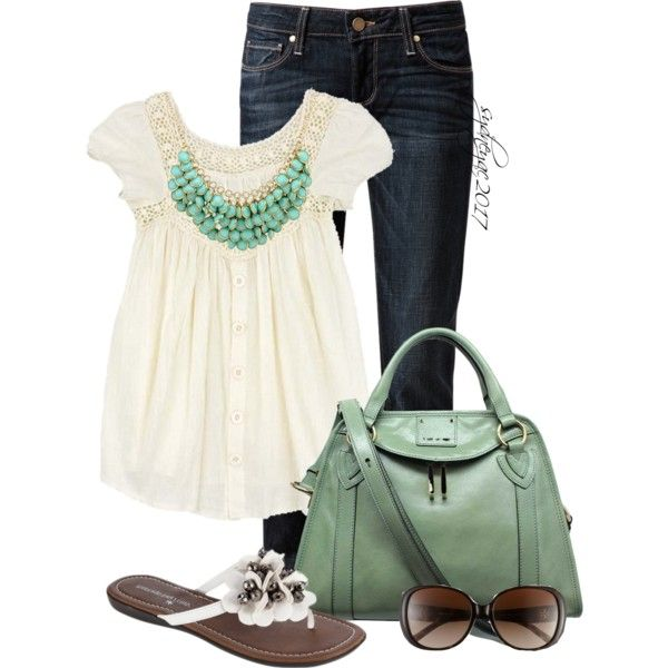 spring outfits - Cream, denim, aqua statement necklace