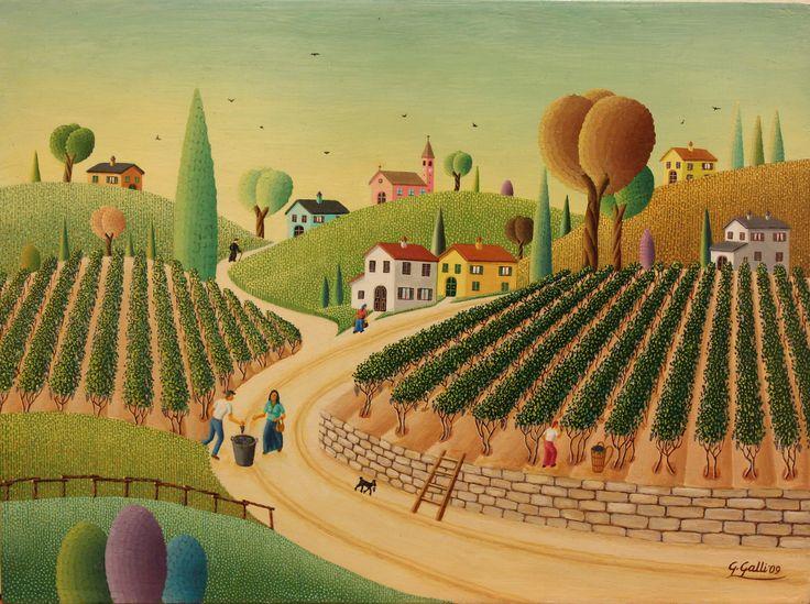 """Giovanni Galli, """"The Grape Harvest"""", 2009, Oil on board, 18X24cm"""