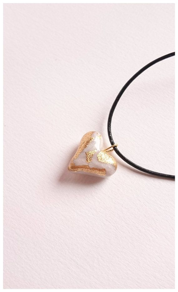 Polymer clay white heart pendant with gold flakes by Little Clay Place.