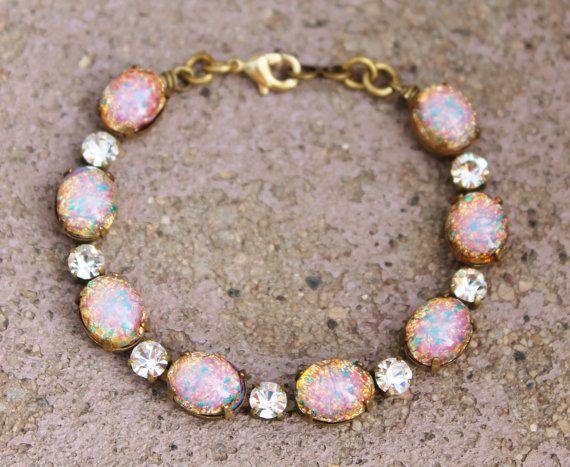 Vintage Fire Opal Bracelet,Pink Harlequin Opal & Rhinestone,Vintage Tennis Style Bracelet,Birthstone Jewelry,Opal Jewelry,Something Old on Etsy, $42.00