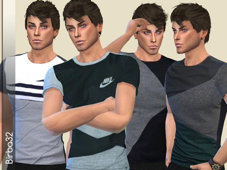 A set of four stylish T-shirts on black/grey tone. From teen to elder, not for random. Found in TSR Category 'Sims 4 Male Everyday'