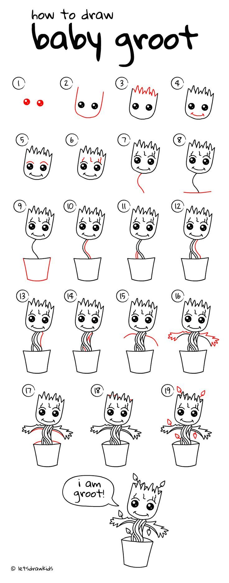 Drawing Designs – How to draw Baby Groot. Easy drawing, step by step, perfect for kids! Let's draw