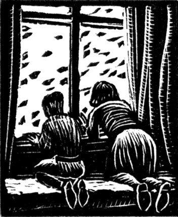 West Wind, Gwen Raverat - art. children at the window #wind #engraving