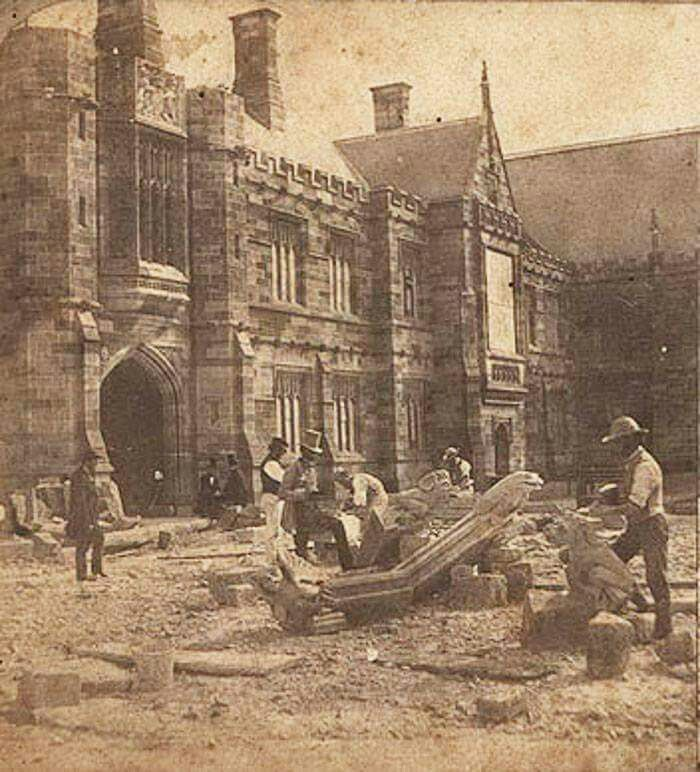 Stonemasons at work carving gargoyles during the construction of Sydney University in 1858.Photo from Josef Lebovic Gallery.A♥W