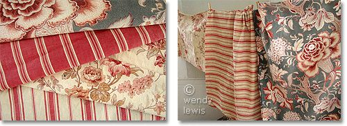 French Country Fabrics   French country fabric : Antique French ticking & block prints. Photos ...