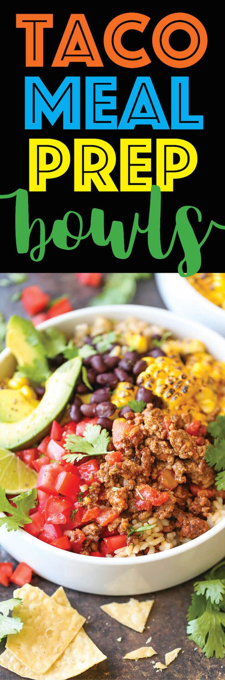 Taco Meal Prep Bowls - Meal prep for the entire week with these healthy Mexican bowls. This saves you money, time, calories - you honestly can't beat that!
