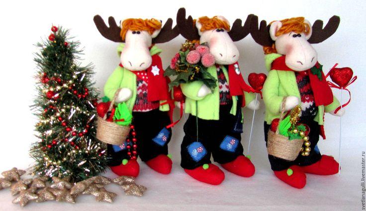 Купить Интерьерная игрушка новогодний Лось с новогодними подарками - Новый Год, новогодний подарок