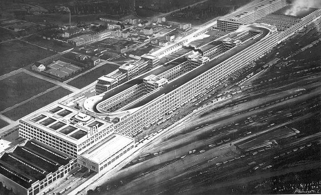 rooftop racetrack / Fiat's Lingotto plant, Turin, Italy - Circa 1928