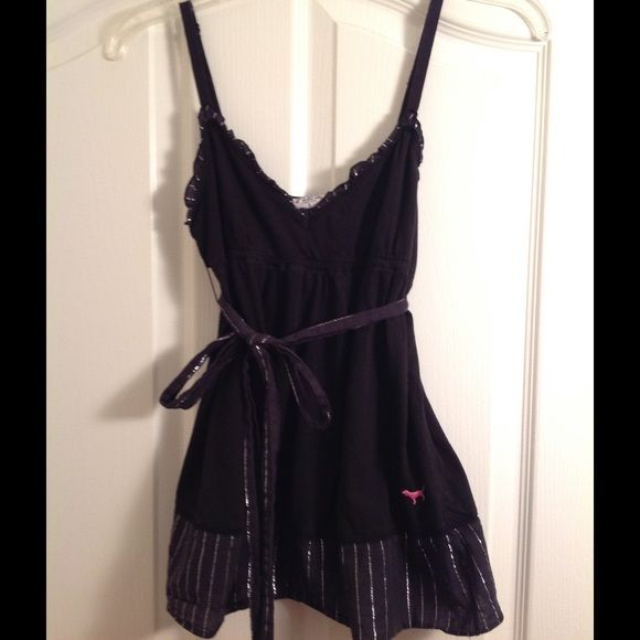 Clearance ❗️ Black and silver topFinal price Super cute black and silver spaghetti strap top from Pink! One of my fav tops but doesn't fit anymore. No stains or tears. PINK Victoria's Secret Tops