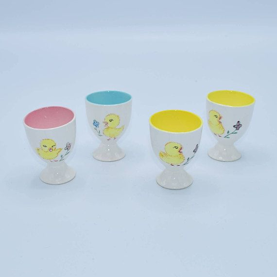 Japan Egg Cups Vintage Chick Chicken Design Set of 4 Baby