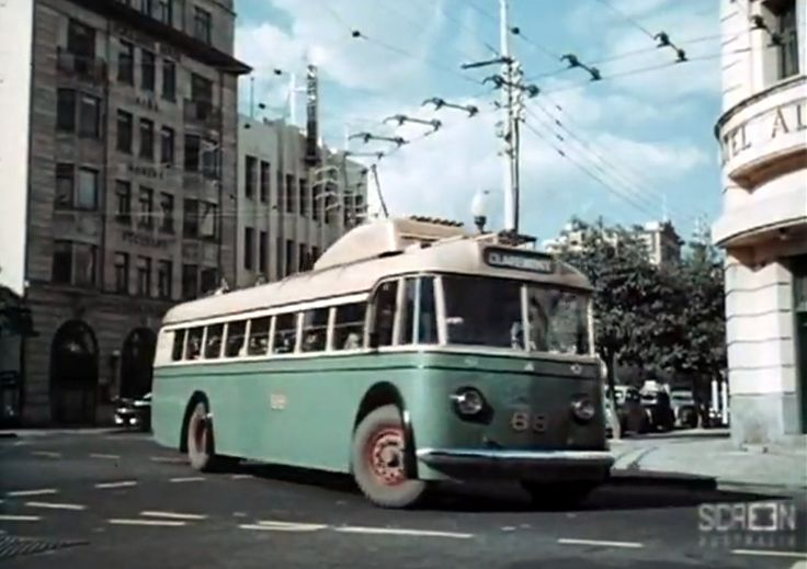 Trolley Bus turning from St George's Tce, 1954