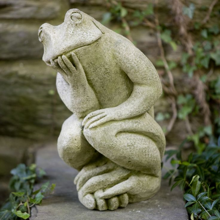Campania International The Thinking Man's Frog Cast Stone Garden Statue - A-385-AL
