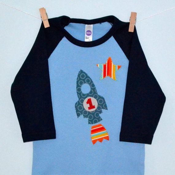 Ähnliche Artikel wie Rakete Geburtstag Shirt, Kleinkind und Kinder blaue Baseball T-shirt auf Etsy