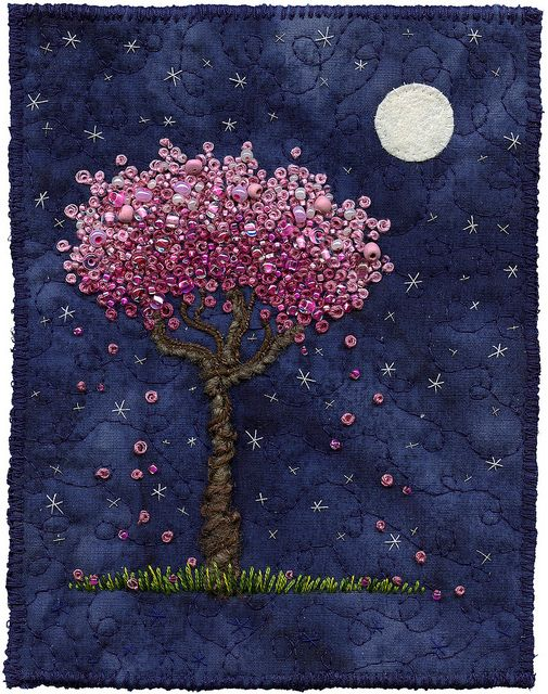 Embroidery ~Moonlight Blossoms ~ French knots and beads embroidery by Kristen Chursinoff