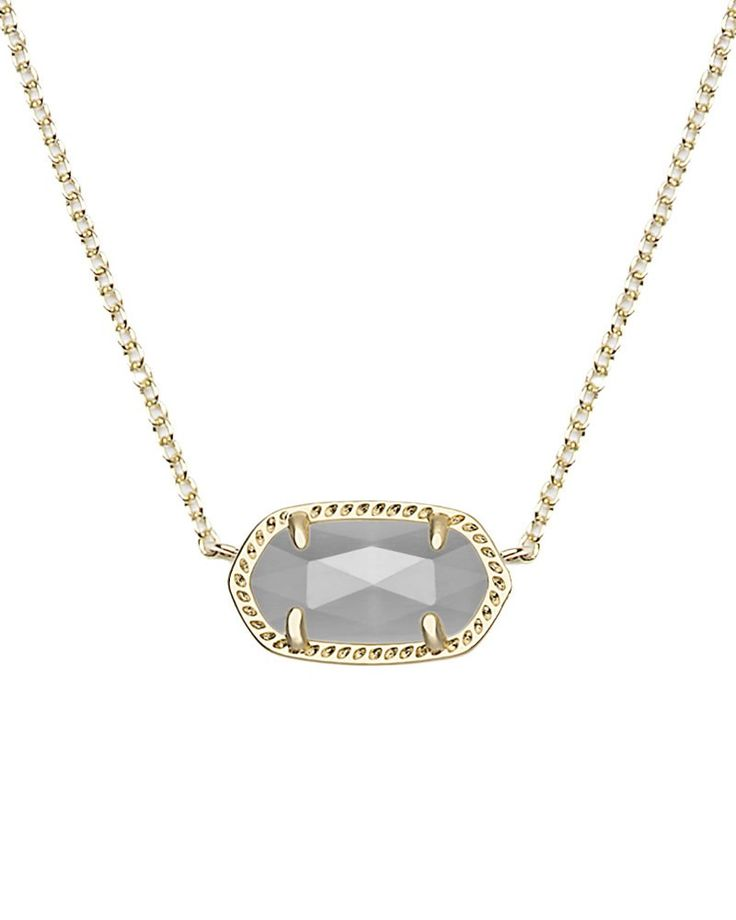Elisa Gold Pendant Necklace in Slate - We just can't get enough of this delicate pendant necklace by Kendra Scott. The Elisa is now available in slate gray, perfect for everyday wear.