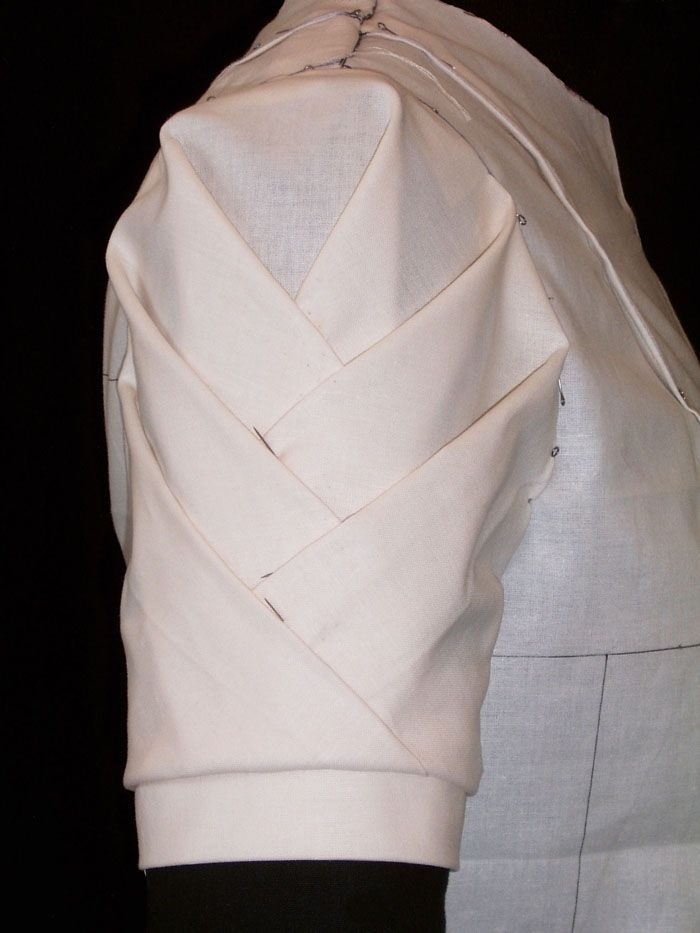 Draping on the stand - origami sleeve detail; fashion design; patternmaking; sewing techniques; fabric manipulation