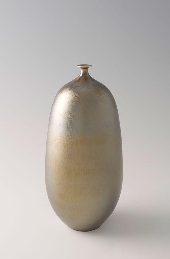 """Hideaki Miyamura, Vase, gold glaze, porcelain, 9 x 4 x 4"""""""
