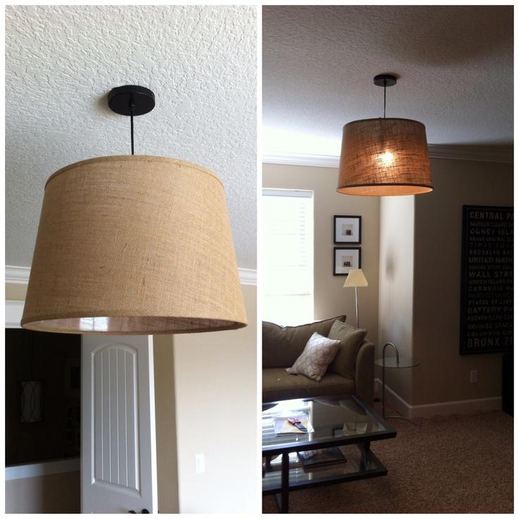 Cheapest DIY pendant Cost Plus Black Electrical Ceiling Hardware Kit $12.99 + Natural Burlap floor lamp shade