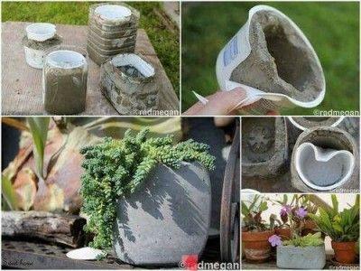 Como hacer maceta de cemento   http://123manualidades.com/como-hacer-maceta-de-cemento/664/