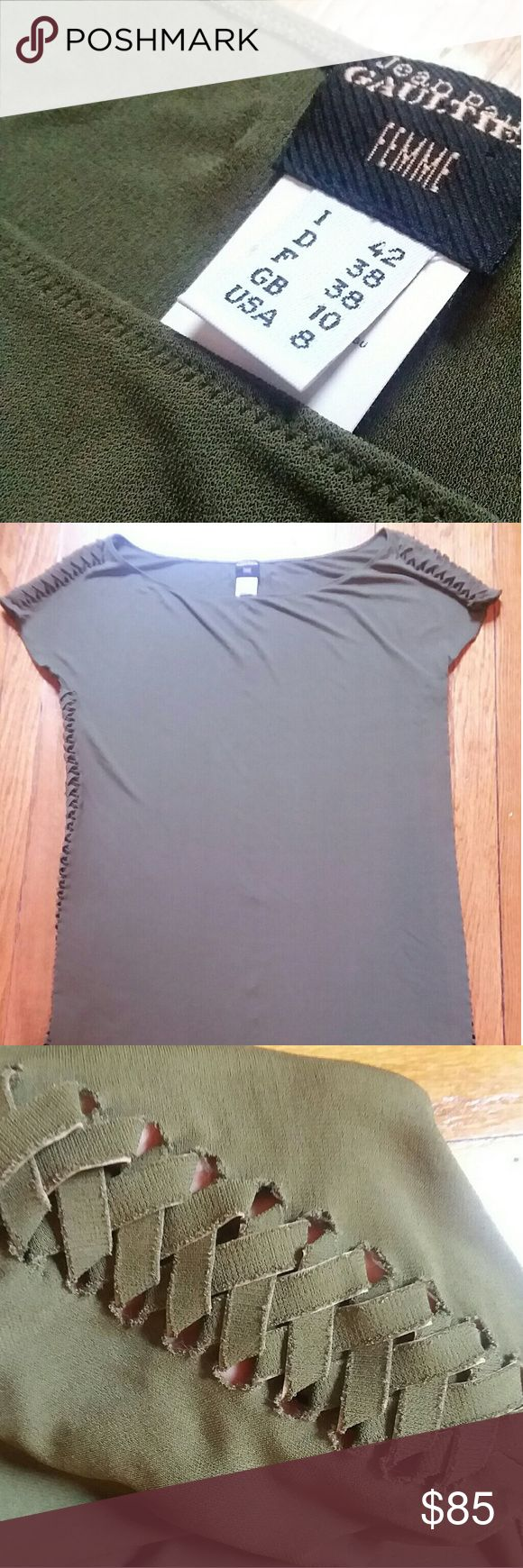 Jean Paul Gaultier women's blouse sz 8 Beautiful olive green tee shirt blouse, with fishtail braid details along shoulders and down both sides. Fall will be here before you know it! Jean Paul Gaultier Tops Blouses