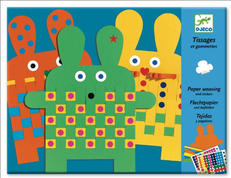 Djeco 6 papieren konijnen weven 3j from http://www.kidsdinge.com       https://www.facebook.com/pages/kidsdingecom-Origineel-speelgoed-hebbedingen-voor-hippe-kids/160122710686387?sk=wall       http://instagram.com/kidsdinge  #Toys #Speelgoed #Kidsdinge