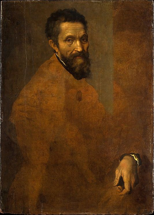 Unfinished portrait of Michelangelo Buonarroti (70 years old) by Daniele da Volterra (1509-1566 Rome), ca. 1544, oil on wood. (Daniele da Volterra was Michelangelo's faithful follower)