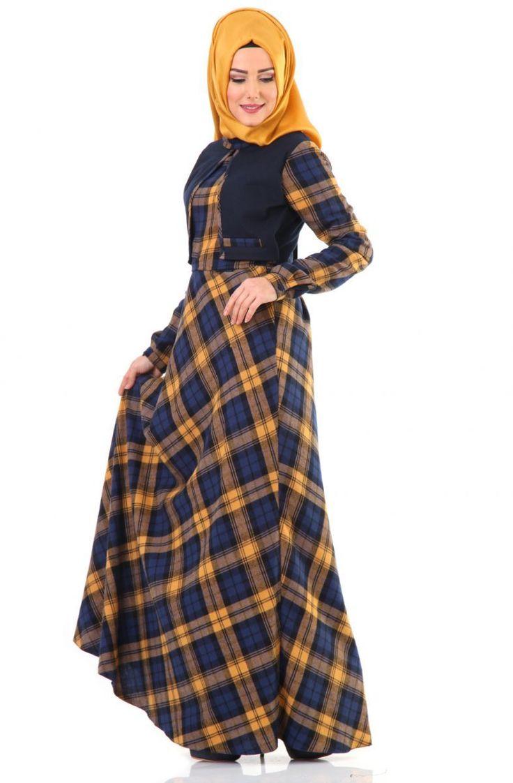 Tuğba Mevsimlik Cepken Görünümlü Elbise G5180 Hardal