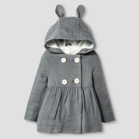 Toddler Girls' Peacoat with Bunny Ears Cat & Jack™ - Grey 2T : Target