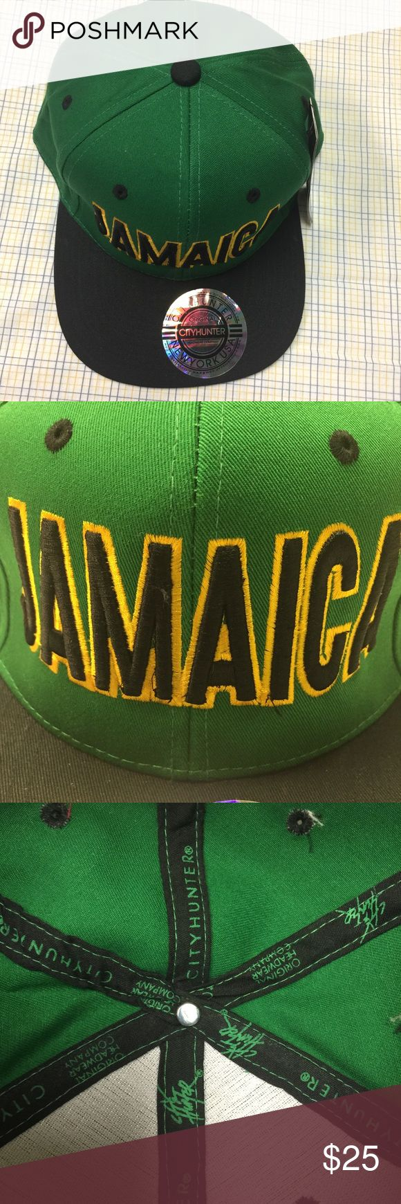 "Jamaica Cap 🇯🇲 Jamaica 🇯🇲 Pro style cap-- Green Crown & Black brim. Embroidered ""Jamaica"" front & ""Flag"" back. 6 small ventilation holes on each panel of crown. Adjustable SnapBack, 100% Cotton. Original City Hunter Headwear company. New with Tags... Jamaica Flag 🇯🇲 represents True Island Love ❤️ City Hunter USA Accessories Hats"