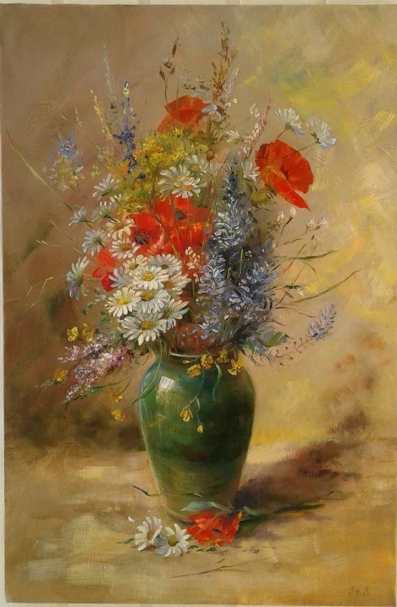 Fleurs dans un vase vert. Peinture à l'huile,