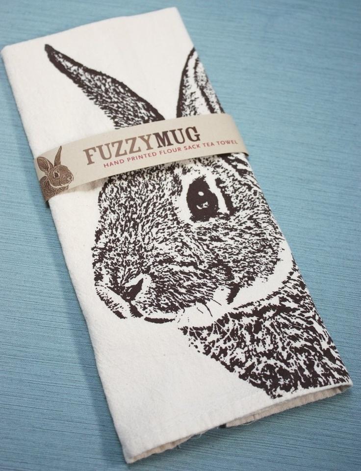Image of More Fuzzy Mug Hand-Printed Flour Sack Tea Towels