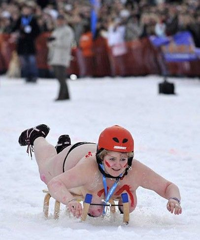 I've never gone sledding in snow before, but I have a feeling that this is not how it's usually done... - Imgur