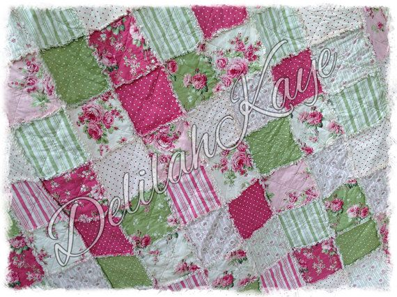 Rag Quilt  Twin Size  Shabby Barefoot Roses by DelilahKaye on Etsy, $275.00