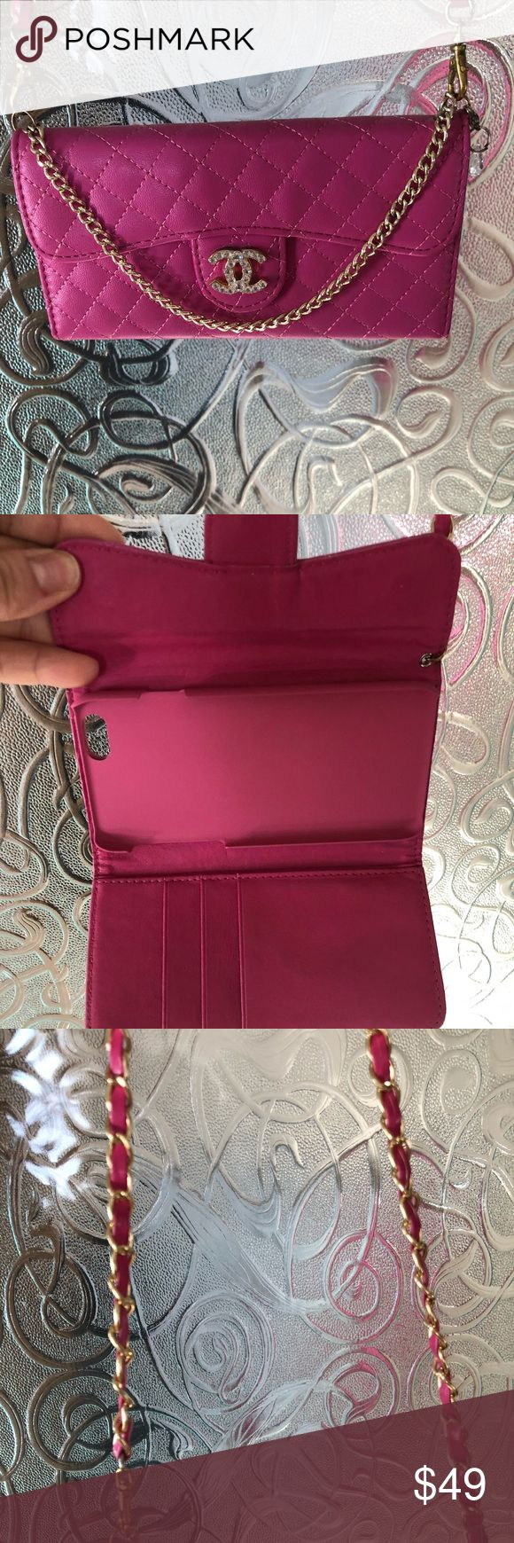 iPhone 6  / 6 x   Cross body cell phone holder Brand new! I had to get a different size phone and can not use, beautiful bright pink with gold logo accent quilted high quality carrier Accessories Phone Cases
