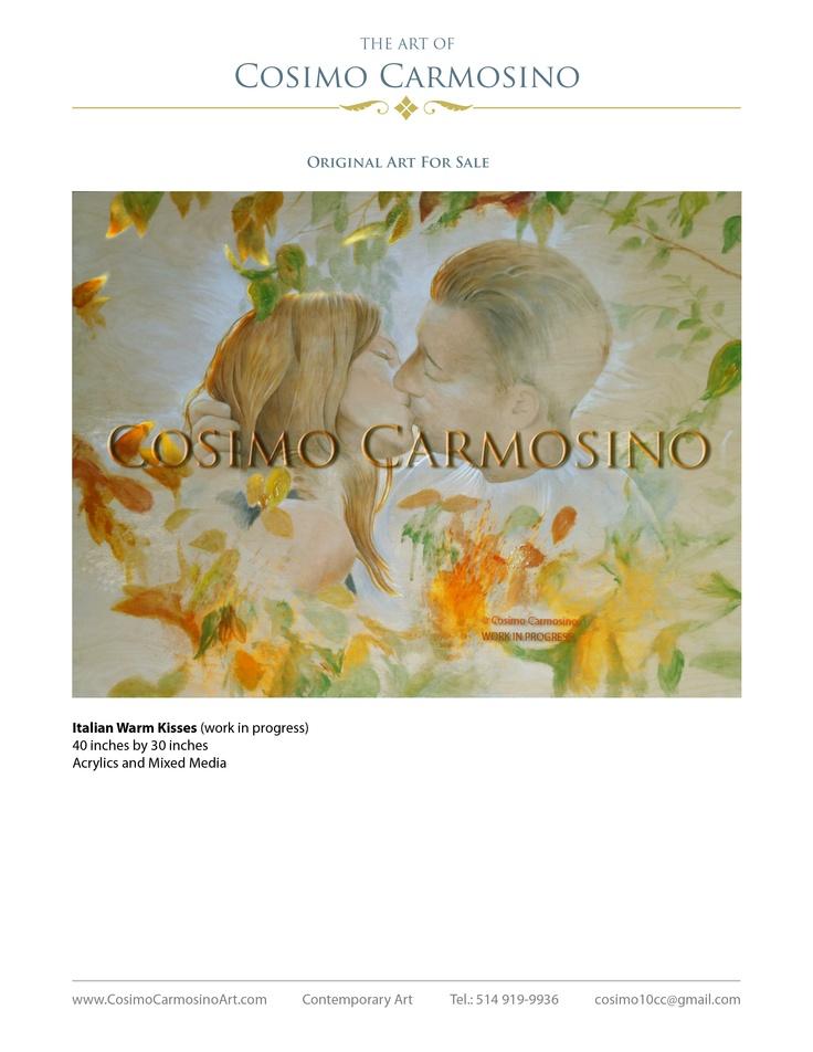 Italian Warm Kisses (Work in progress), Acrylics and Mixed Media