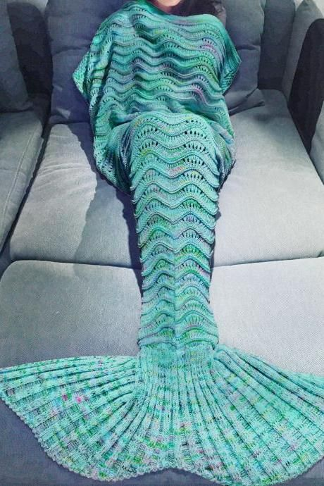 Christmas gift Mermaid Tail Sofa Blanket Super Soft Warm Hand Crocheted Knitting Wool For Adult