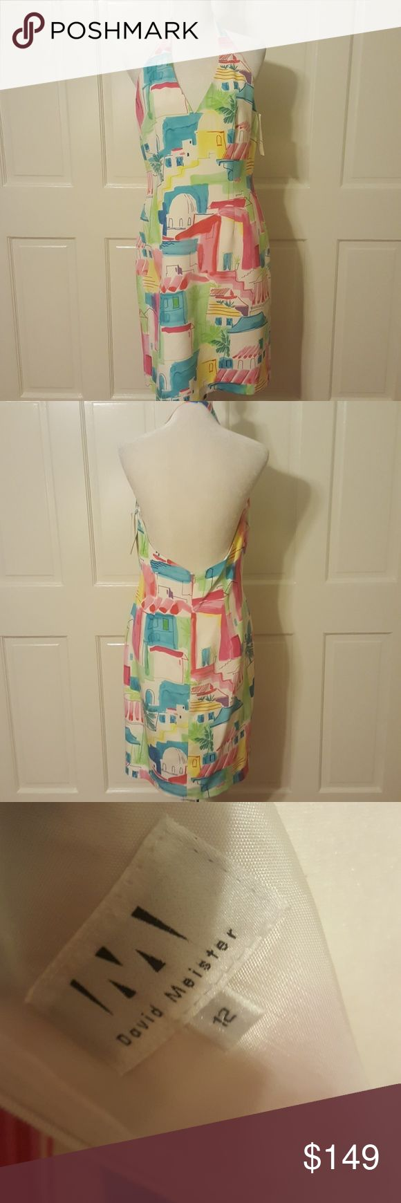 NWT Halter top dress Beautiful 100% silk halter top backless dress with bright colors.  Pink, blue, green, yellow and White.  Very fitted knee length.   Great for that special occasion or a night out. David Meister Dresses Backless