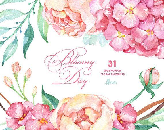 Bloomy dag: 31 Floral elementen, Hortensia, pioenrozen, aquarel bloemen, bruiloft uitnodiging, wenskaart, diy illustraties, mint en roze