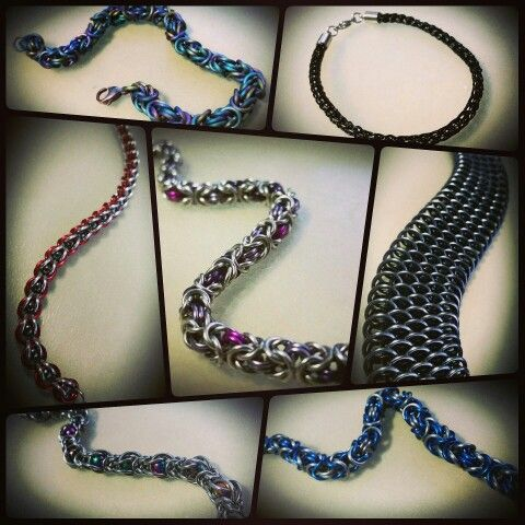 6 different styles of chainmail and a viking knit bracelet #AlloyedAdornments #chainmaille #VikingKnit #bracelet #jewelry