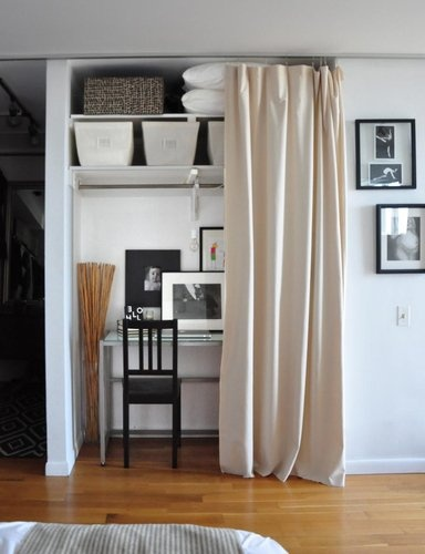 17 best images about closet office on pinterest office - Curtains for small spaces ...